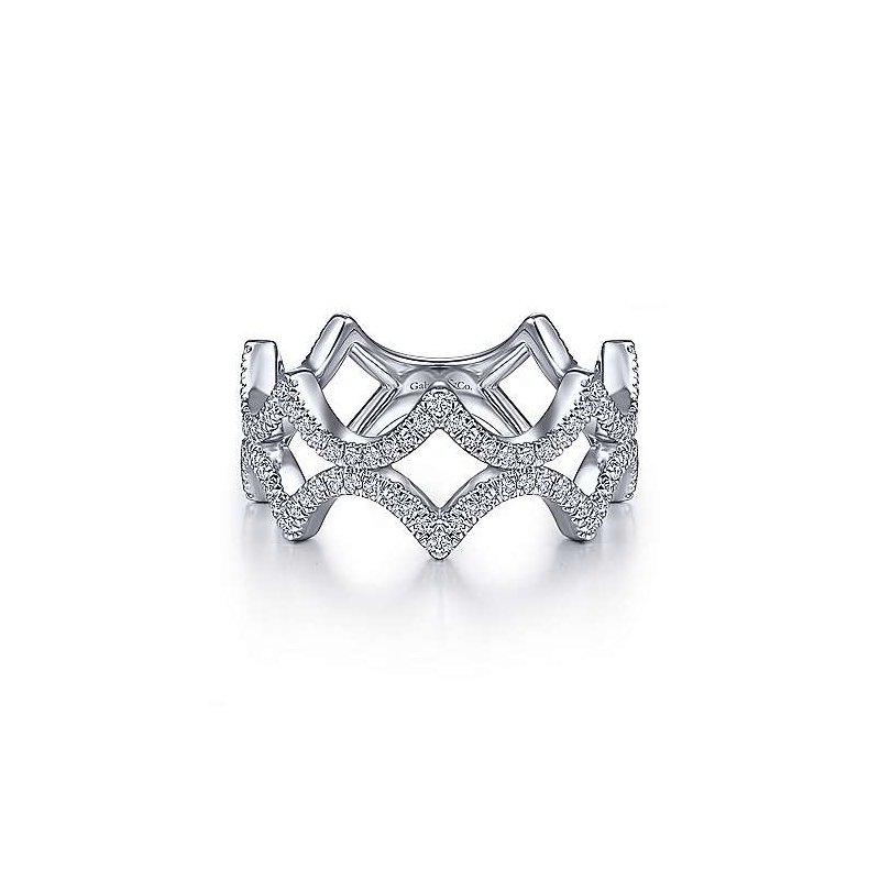 Gabriel Fashion 14K White Gold Fashion Ladies Ring