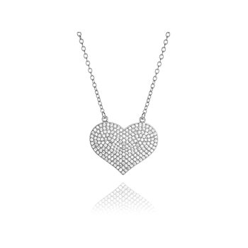 Sterling Silver Pave Cubic Zirconia Necklace