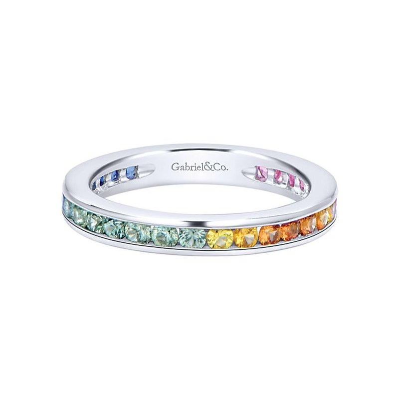 Gabriel Fashion 14k White Gold Stackable Stones Ladies' Ring
