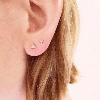 Small Triangle Pave Post Earrings