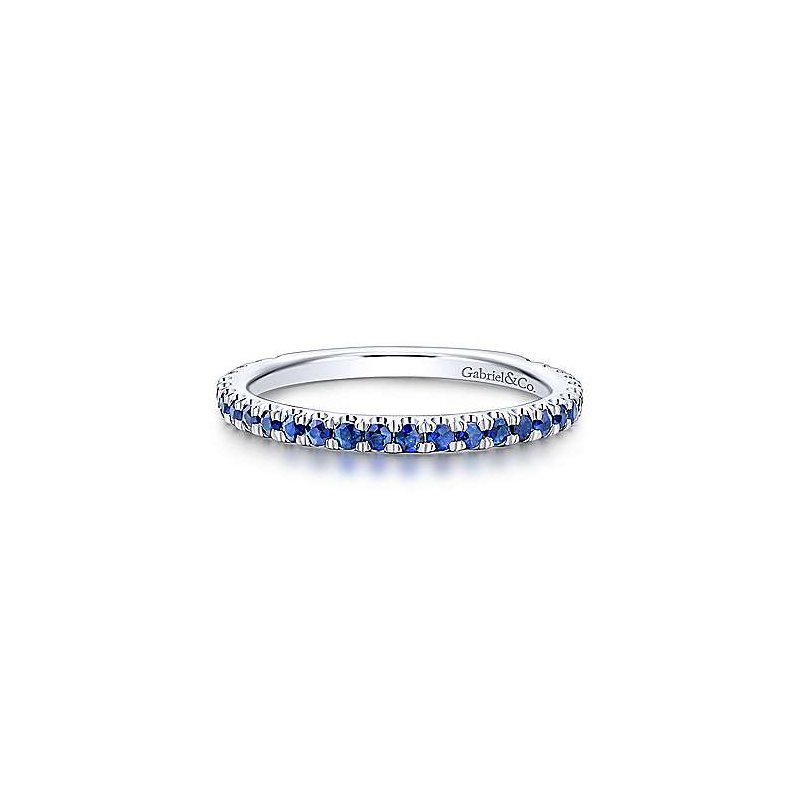 Gabriel Fashion 14K White Gold Straight Sapphire Stackable Ring