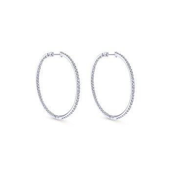 14k White Gold Hoops Diamond Earrings