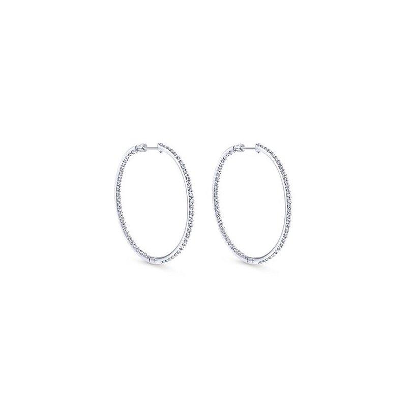 Gabriel Fashion 14k White Gold Hoops Diamond Earrings