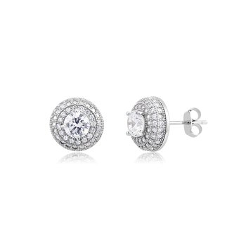 Sterling Silver Multi Row Pave Cubic Zirconia Earring