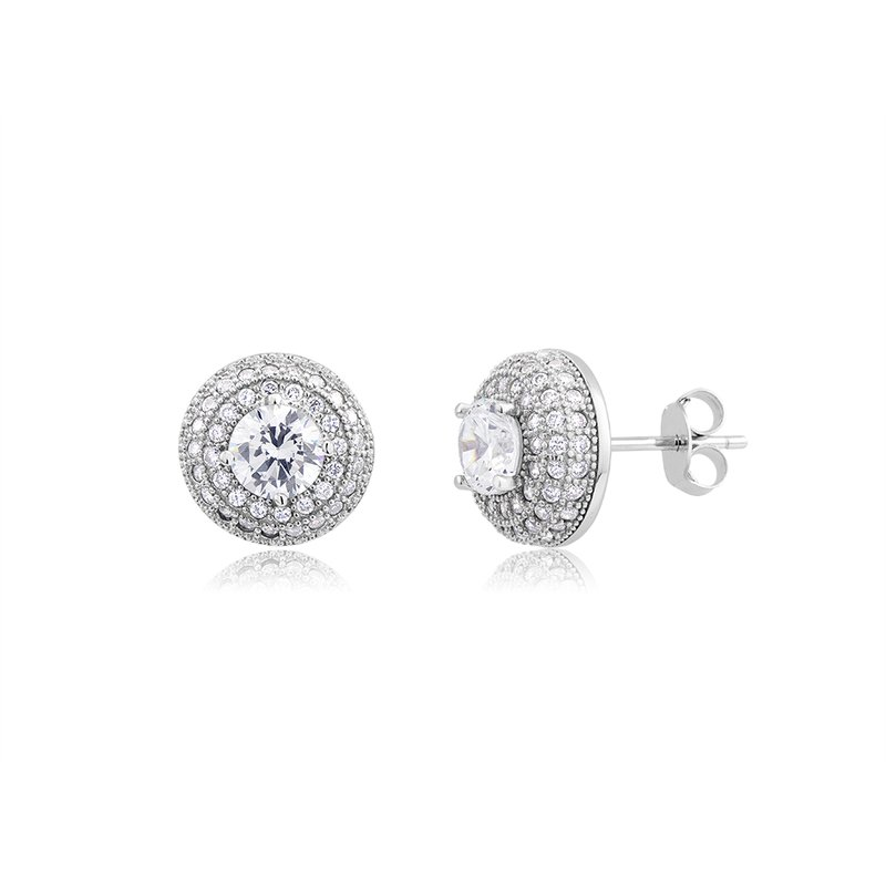 Great American Jewelry  Sterling Silver Multi Row Pave Cubic Zirconia Earring