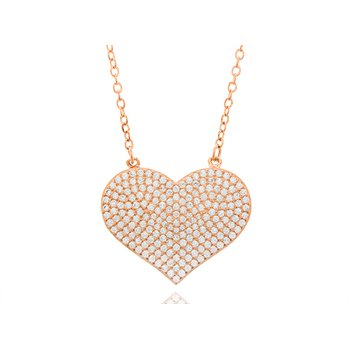 Sterling Silver Rose Gold Plated Pave Cubic Zirconia Necklace