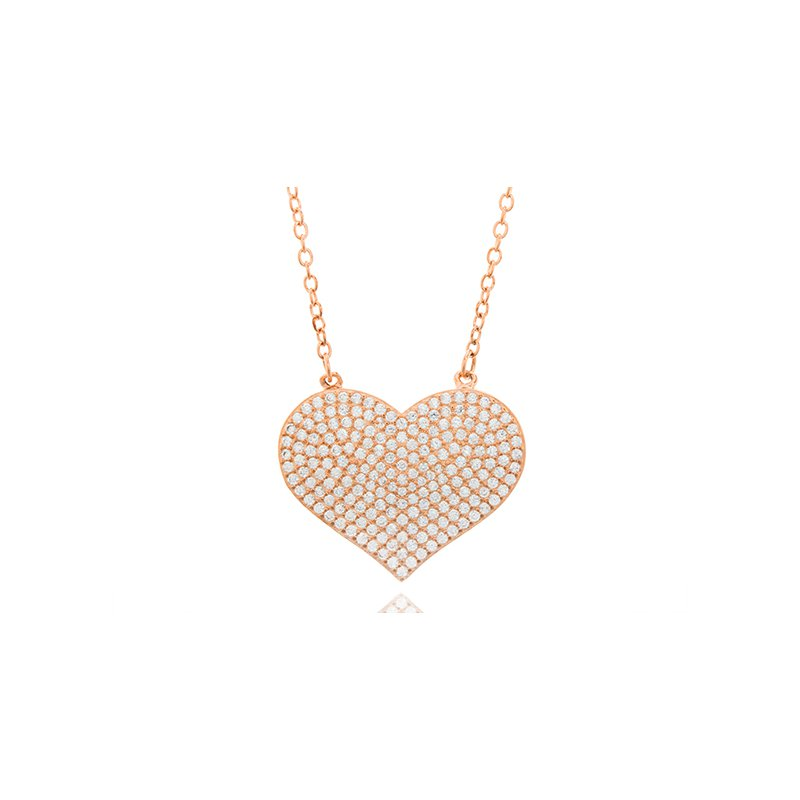 Great American Jewelry  Sterling Silver Rose Gold Plated Pave Cubic Zirconia Necklace