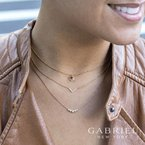 Gabriel Fashion 14K Yellow Gold Curved Round Diamond Bar Necklace