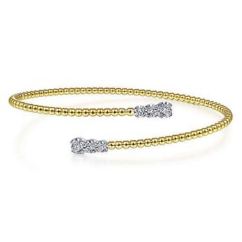 14K Yellow/White Gold Fashion Bangle