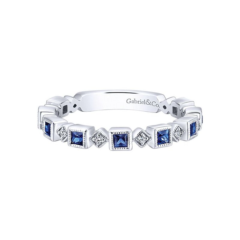 Gabriel Fashion 14k White Gold Stackable Diamond Sapphire Ladies' Ring