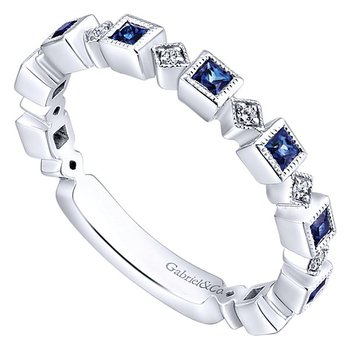 14k White Gold Stackable Diamond Sapphire Ladies' Ring