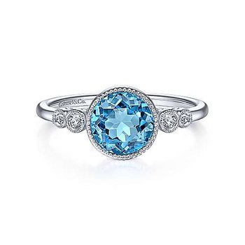 14K White Gold Round Blue Topaz Diamond Ring