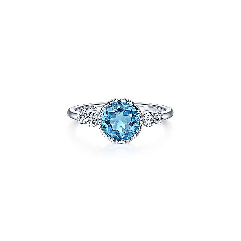Gabriel Fashion 14K White Gold Round Blue Topaz Diamond Ring