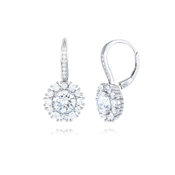 Sterling Silver Cubic Zirconia Lever Back Earring