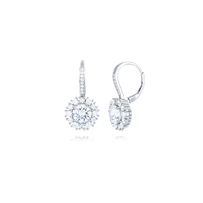 Great American Jewelry  Sterling Silver Cubic Zirconia Lever Back Earring
