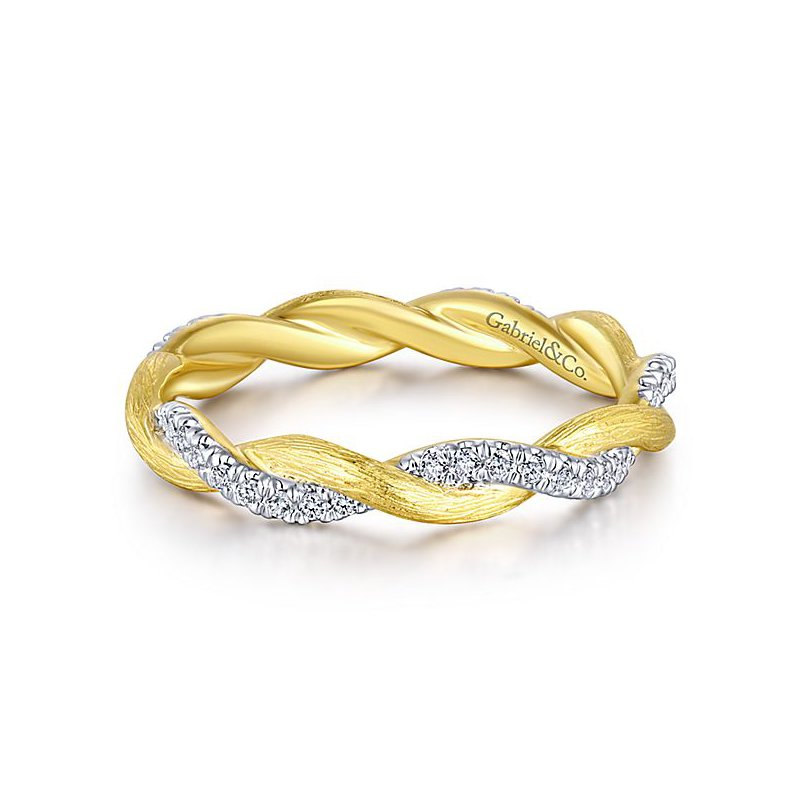 Gabriel Fashion 14k Yellow Gold Stackable Diamond Ladies' Ring