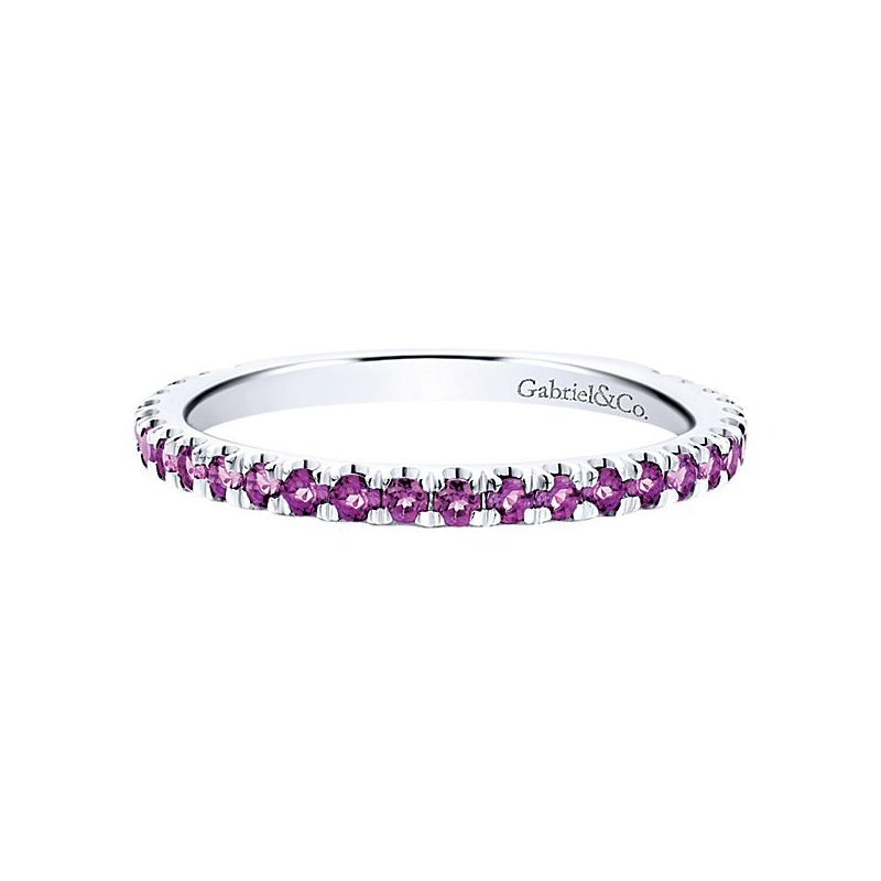 Gabriel Fashion 14k White Gold Stackable Amethyst Ladies' Ring