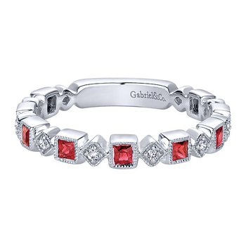 14k White Gold Stackable Diamond Ruby Ladies' Ring