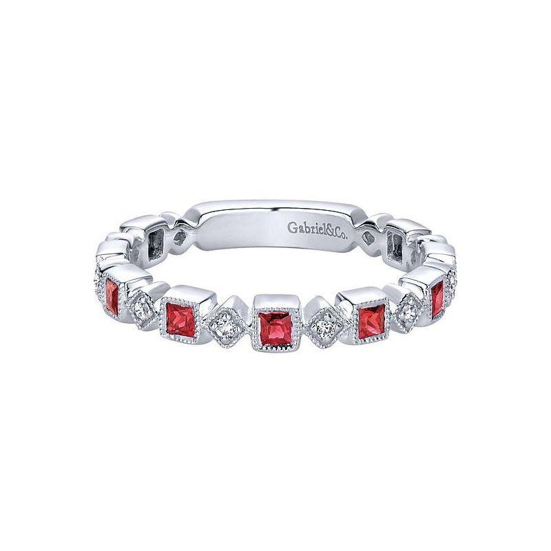 Gabriel Fashion 14k White Gold Stackable Diamond Ruby Ladies' Ring