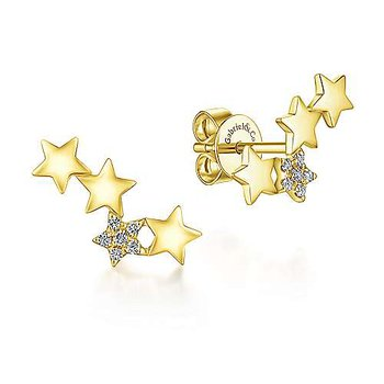 14k Yellow Gold Star Shaped Pave Diamond Stud Earrings