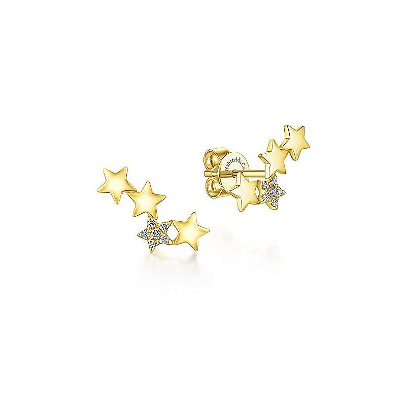 Gabriel Fashion 14k Yellow Gold Star Shaped Pave Diamond Stud Earrings