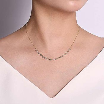 14K Yellow/White Gold Pear Shaped Diamond Station Choker Necklace