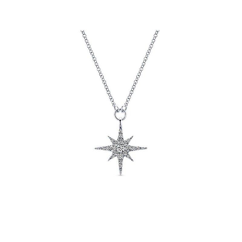 Gabriel Fashion 14k White Gold Starlis Diamond Necklace