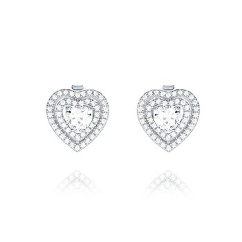 Sterling Silver Cubic Zirconia Double Halo Heart Earring