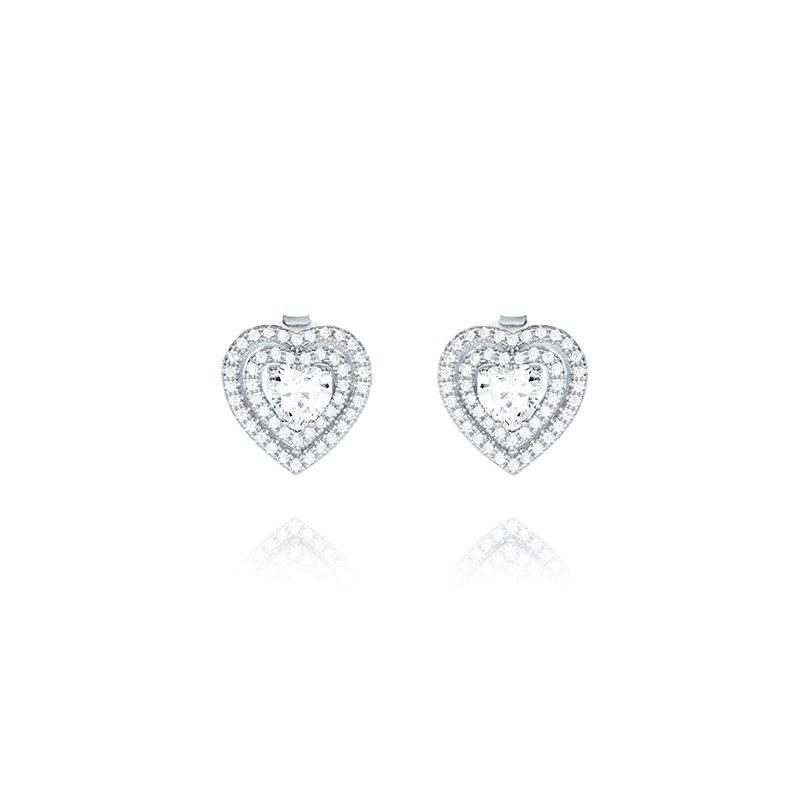 Great American Jewelry  Sterling Silver Cubic Zirconia Double Halo Heart Earring