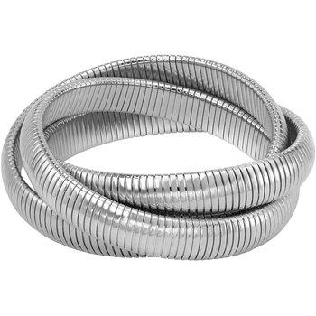 Triple Strand Silvertone Rolling Bracelet