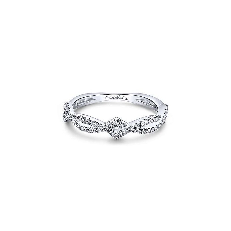 Gabriel Fashion 14K White Gold Twisted Diamond Stackable Ladies Ring