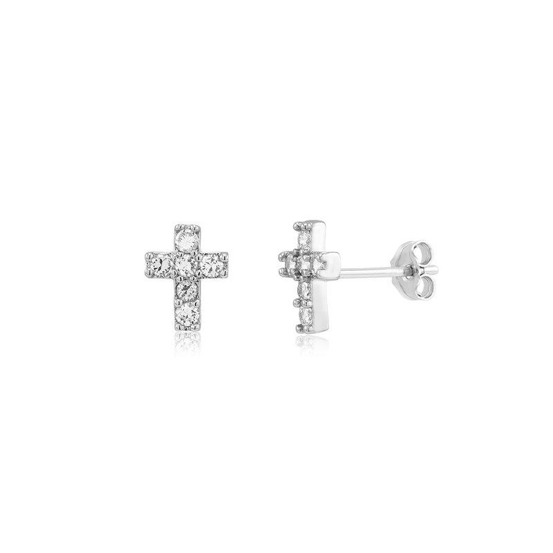 Great American Jewelry  Sterling Silver Cubic Zirconia Cross Stud