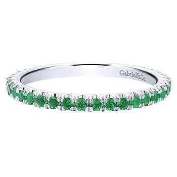 14k White Gold Stackable Emerald Ladies' Ring