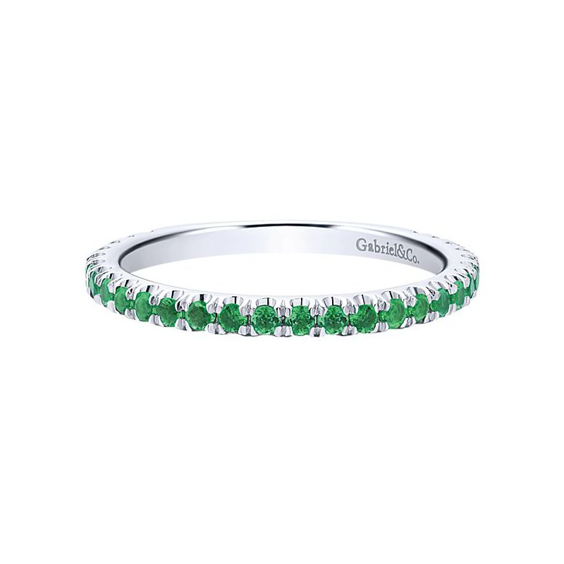 Gabriel Fashion 14k White Gold Stackable Emerald Ladies' Ring