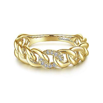 14K Yellow Gold Fashion Link Ladies Ring