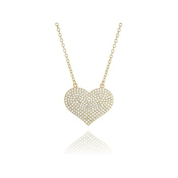 Sterling Silver Gold Plated Pave Cubic Zirconia Necklace