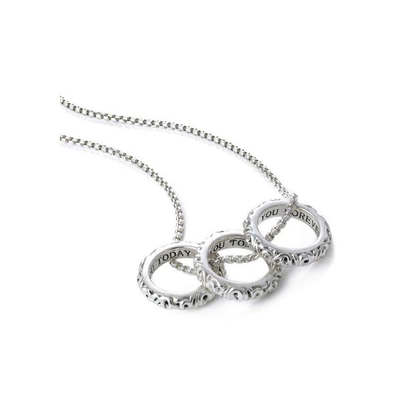 Charles Krypell 'I Love You Today… Tomorrow… Forever…' Three Ring Love Necklace