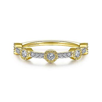14K Yellow Gold Fashion Bezel Ladies Ring