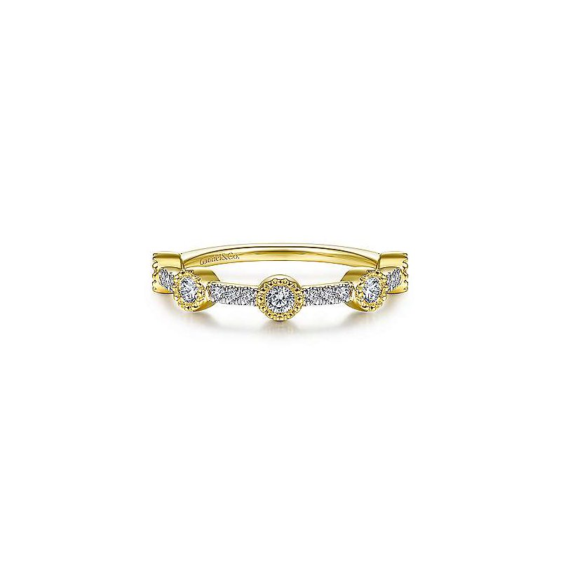 Gabriel Fashion 14K Yellow Gold Fashion Bezel Ladies Ring