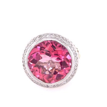 John Hardy Treated Pink Topaz Ring in Silver with Gold Accents