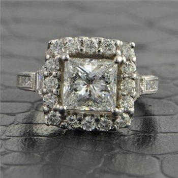 GIA 2.0 Carat Princess Cut Diamond Engagement Ring in 18k White Gold