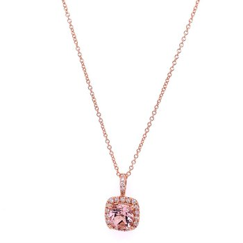 Morganite and Diamond Pendant in Rose Gold