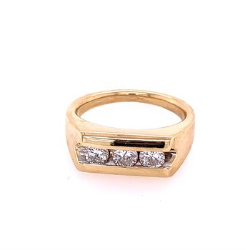 Three Stone Diamond Gents Ring in Yellow Gold