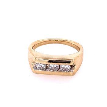 Three Stone Diamond Gents Ring in Yellow Gold