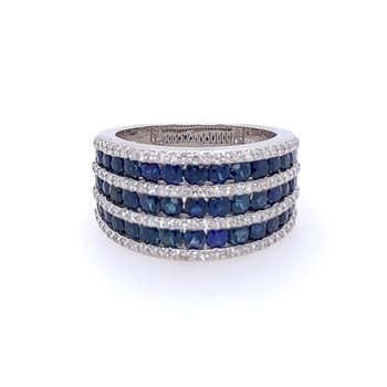 Wide Sapphire and Diamond Band in White Gold