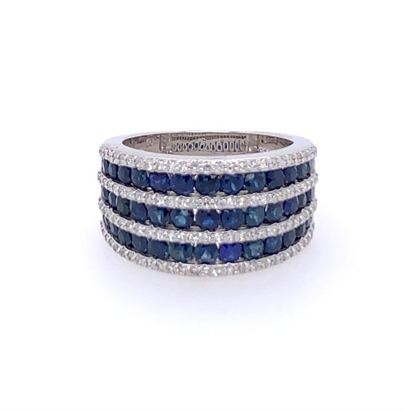 Effy Wide Sapphire and Diamond Band in White Gold