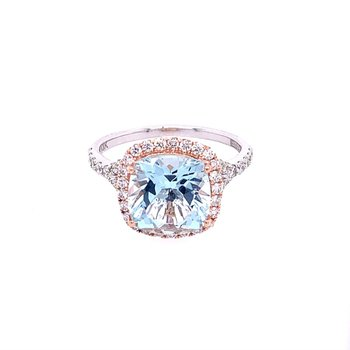Two Tone Aquarmine and Diamond Ring