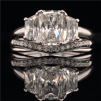 1.31 Carat Radiant Cut Diamond Engagement Ring With Matching Band