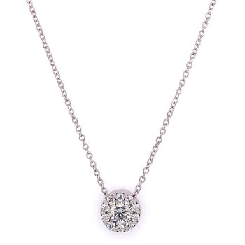 .46 CTW Perfectly Cut Diamond Cluster Pendant in 18k White Gold