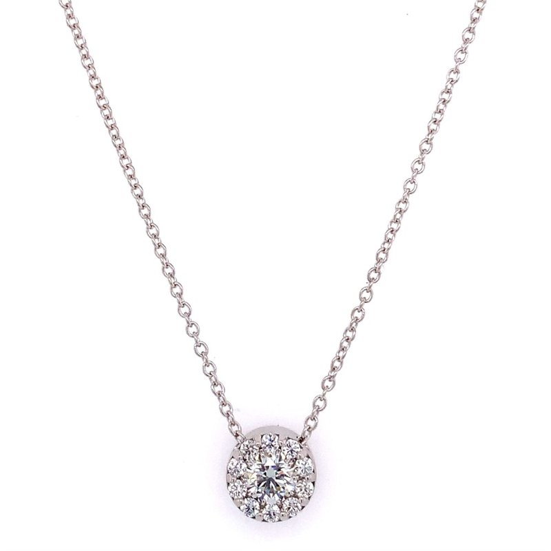 Hearts On Fire .46 CTW Perfectly Cut Diamond Cluster Pendant in 18k White Gold